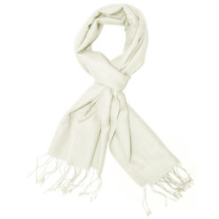 Pashmina Scarf – 30x150cm – 70% Cashmere/30% Silk – Natural White