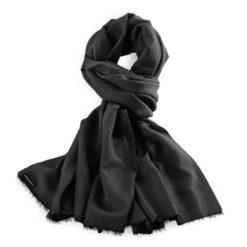 Pashmina Stole - 70x200cm - 70% Cashmere / 30% Silk - Black - No Tassels