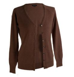 Ladies Cashmere Vneck Cardigan - Cocoa Brown