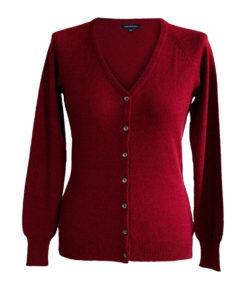 Ladies Cashmere V Neck + Melange Red