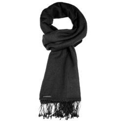 Classic Pashmina Stole - 70% Cashmere 30% Silk - 70x200cm - Pure Black