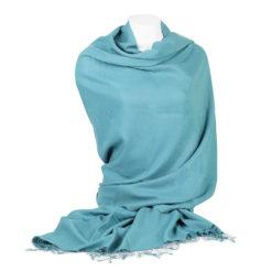 PASHMINA SHAWL – 90X200CM – 70% CASHMERE / 30% SILK – ADRIATIC BLUE
