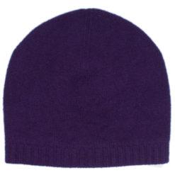 Ribbed Hem Hat - 100% Cashmere - Nightshade
