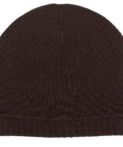 Ribbed Hem Hat - 100% Cashmere - Coffee Bean