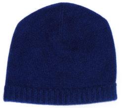 Ribbed Hem Hat - 100% Cashmere - Dark Navy