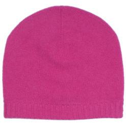 Ribbed Hem Hat - 100% Cashmere - Very Berry