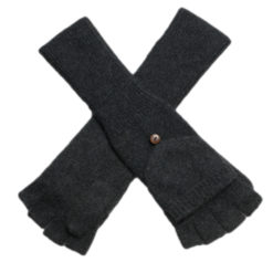 Ladies Cashmere On/Off Gloves - 100% Cashmere - Melange Dark Grey mp501