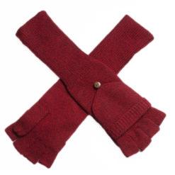 Ladies Cashmere On/Off Gloves - 100% Cashmere - Melange Red mp543