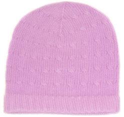 Cabled Hat - 100% Cashmere - Lavender