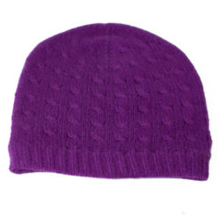 Cabled Hat - 100% Cashmere - Purple