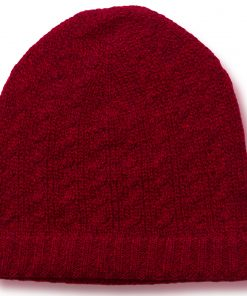 Cabled Hat - 100% Cashmere - Melange Red