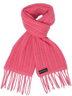Cable Knit Scarf - 100% Cashmere - 35x180cm - Rapture Rose