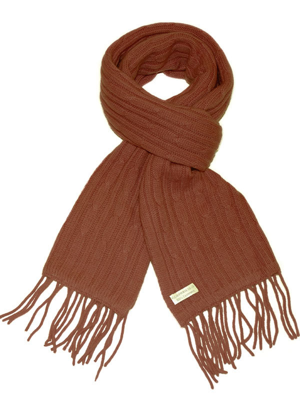 ac331f816f6 Cable Knit Scarf – 100% Cashmere – 35x180cm – Brownie – Mypashmina