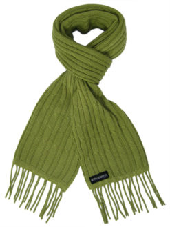 Cable Knit Scarf - 100% Cashmere - 35x180cm - Mosstone