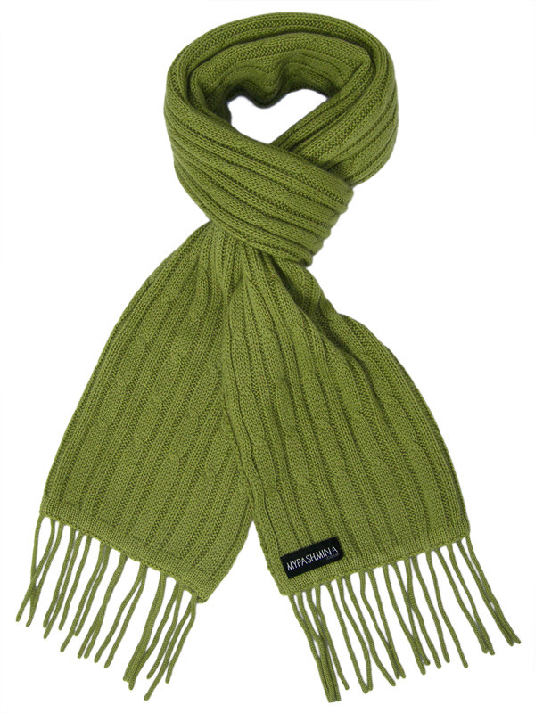 11fdf8e71 Buy Cable Knit Scarf - 100% Cashmere - 35x180cm - Mosstone Online ...