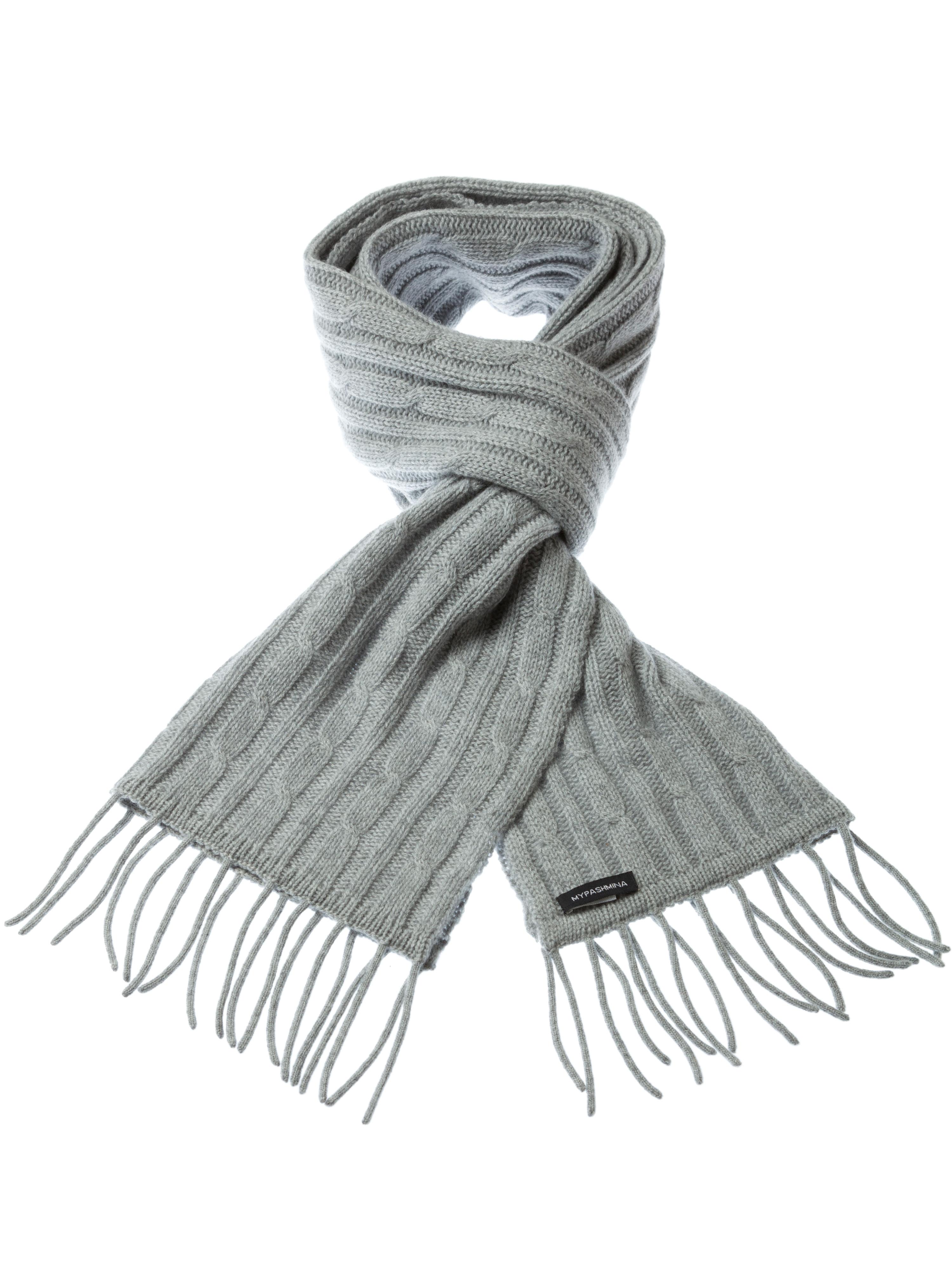54e95fa13cc Buy Cable Knit Scarf - 100% Cashmere - 35x180cm - Melange Light Grey ...