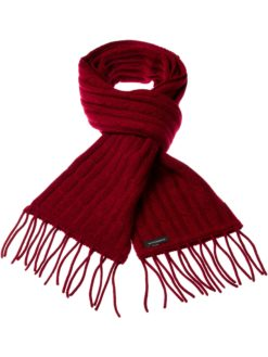 Cable Knit Scarf - 100% Cashmere - 35x180cm - Melange Red