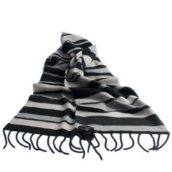 Knitted Stripey Scarf - 170x25cm - 100% Cashmere - Grey Scale