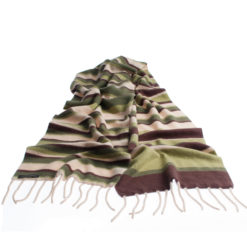 Knitted Stripey Scarf - 170x25cm - 100% Cashmere - Secret Forest
