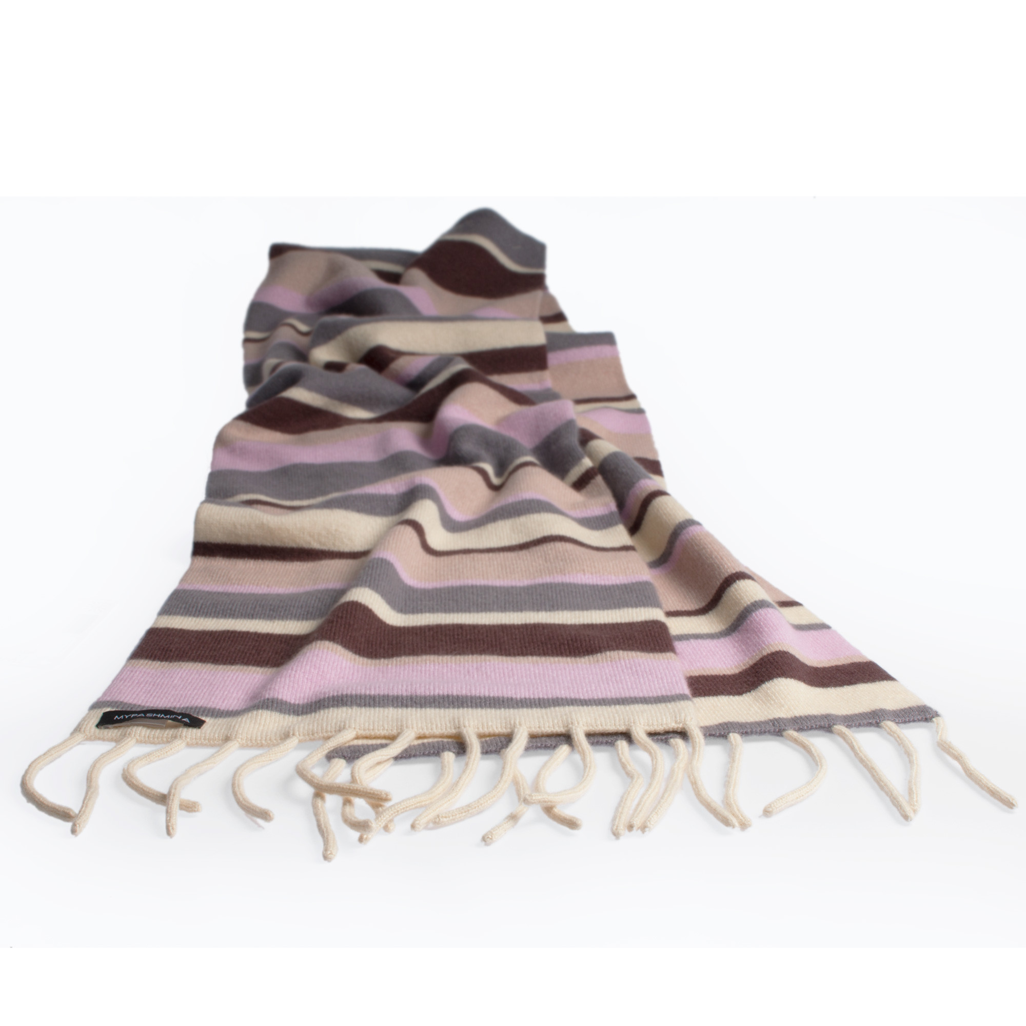 7e50c52f8d7 Knitted Stripey Scarf – 170x25cm – 100% Cashmere – Strawberry Mouse ...