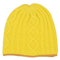 Cable Twist Hat - 100% Cashmere - Buttercup mp12 / Apricot mp18