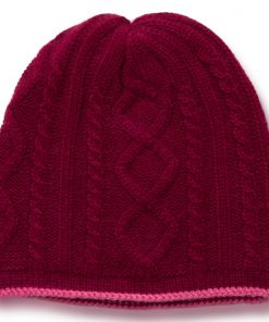 Cable Twist Hat - 100% Cashmere - Rhododendron mp27 / Carmine mp32