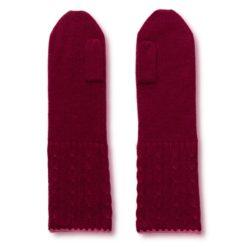 Cable Twist Mittens - 100% Cashmere - Rhododendron mp27 / Carmine mp32
