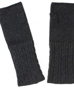 Cable Wristwarmer - 100% Cashmere - Melange Dark Grey