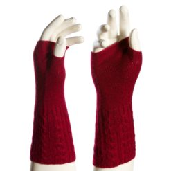 Cable Wristwarmer - 100% Cashmere - Melange Red