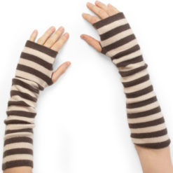 Stripey Wristwarmers - 100% Cashmere - Coffee Bean/Sandshell