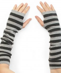 Stripey Wristwarmers - 100% Cashmere - Melange Light Grey/Melange Dark Grey