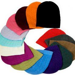 Cabled Hat - 100% Cashmere - Melange Red