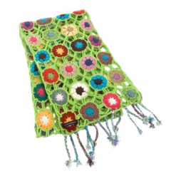 Crochet Knit Scarf - 100% Cashmere - 25x150cm - HKF224