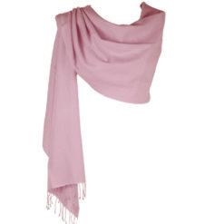 Pashmina Large Scarf - 45x200cm - 70% Cashmere/30% Silk - Barely Pink