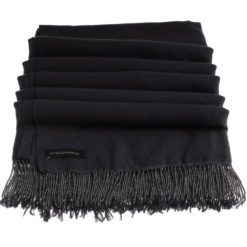 Pashmina Stole With Beaded Tassels - 70x200cm - Black