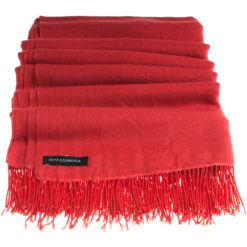 Pashmina Stole With Beaded Tassels - 70x200cm - Pompeian Red