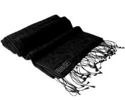 Jacquard Water Pashmina - 45x200cm - 80% Cashmere / 20% Silk - Black