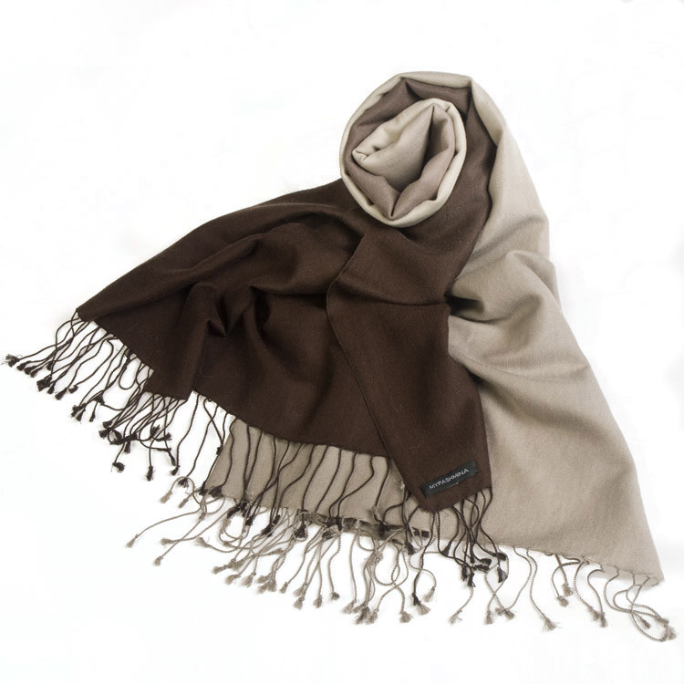 6091567f7 Shaded Pashmina – 70x200cm – 70% Cashmere / 30%Silk – Coffee Bean and  Cobblestone