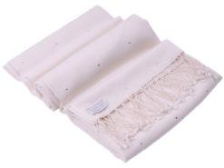 Swarovski Crystals Pashmina Stole - 70x200cm - 70% Cashmere / 30% Silk -  White