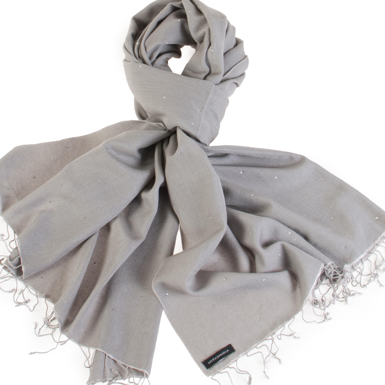 af6e73b9c4 Swarovski Crystals Pashmina Stole – 70x200cm – 70% Cashmere   30% Silk –  Steeple Grey