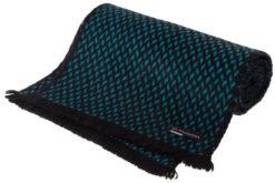 Herringbone Scarf - 25x160cm - 100% Cashmere - Black and Larkspur