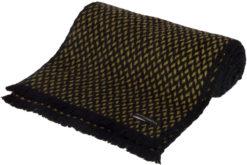 Herringbone Scarf - 25x160cm - 100% Cashmere - Black and Mosstone
