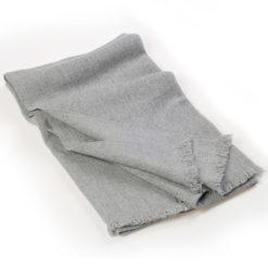 Herringbone Weave Pashmina - 100% Cashmere - 60x190cm - Open Fringe - Melange Light Grey
