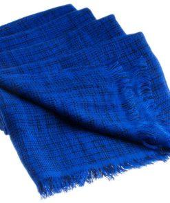 Double Ikat Stole - 66x203cm - 100% Cashmere - No Tassels - Dark Navy mp120  Clematis Blue mp108