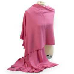 Frilled Edge Shawl - 50% Cashmere / 50% Silk - 70x200cm - Hot Pink