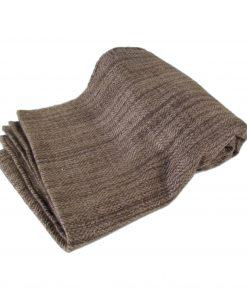 Striped Heavyweight Scarf - 40x200cm - Beige/Brown - 98% Cashmere/2% Silk