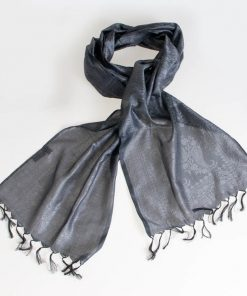 Varanasi Silk Scarf - 24x180cm - Jacquard - Dark Grey