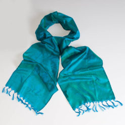 Varanasi Silk Scarf - 24x180cm - Jacquard - Turquoise / Green