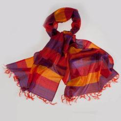 Varanasi Silk Scarf - 55x180cm - Stripey - Yellow Orange Pink Grey