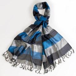 Varanasi Silk Scarf - 55x180cm - Stripey - Blue Grey Black